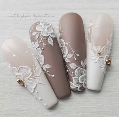 Beautiful nails by Ugly Duckling Master Educator 😍 Ugly Duckling Nails is dedicated to keeping love, support, and positivity flowing in our industry ❤️ Lace Wedding Nails, Wedding Acrylic Nails, Lace Nails, Wedding Nails Design, Fall Acrylic Nails, Acrylic Nail Designs, Neutral Wedding Nails, Gorgeous Nails, Pretty Nails