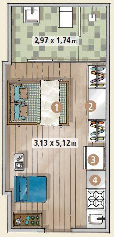 Espaço mínimo - Projeto 21 m²                                                                                                                                                                                 Mais