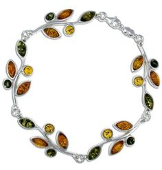 Silver Amber Bracelet, Multicolor, Baltic Amber-Leaves of Amber Bracelet