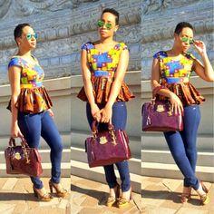 nice denim paired with an african pepulm detail. #Africanfashion #AfricanWeddings #Africanprints #Ethnicprints #Africanwomen #africanTradition #AfricanArt #AfricanStyle #Kitenge #AfricanBeads #Gele #Kente #Ankara #Nigerianfashion #Ghanaianfashion #Kenyanfashion #Burundifashion #senegalesefashion #Swahilifashion ~DK