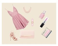 """""""Barbie"""" by s-o-polyvore ❤ liked on Polyvore featuring Topshop, Marchesa, Charlotte Russe, Kate Spade, Essie, MAC Cosmetics and Clinique"""