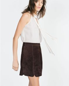 Image 1 of TIE NECK BLOUSE from Zara