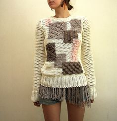 Yoko Sweater Hipster patchwork style sweater by ElevenBoutique, $120.00