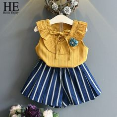 HE Hello Enjoy Children Clothing Sets Kids Clothes Girls Summer Casual Sleeveless Applique T-shirt+Stripe Shorts Suits 2019 Cheap Girls Clothes, Kids Outfits Girls, Kids Girls, Girl Outfits, Girls Dresses, New Girl Style, Sleeveless Outfit, Short Suit, Frocks For Girls
