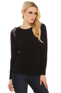 Be With You Embellished Sweater in Black #shopakira #beseenin2015 #pintowin