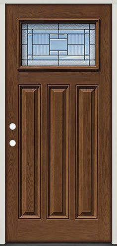 Pre Finished Oak Fiberglass Door With Sidelites Craftsman
