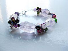 Purple Amethyst Beaded Bracelet Amethyst by VikaRepkaHandMade Beaded Jewellery, Handmade Beaded Jewelry, Beaded Bracelets, Water Pearls, Purple Amethyst, Rose Quartz, Swarovski Crystals, Glass Beads, Drop Earrings