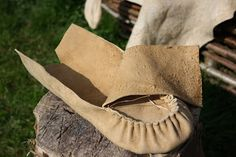 Wilderness Survival Skills and Bushcraft Antics: Moccasin boot hybrids - old meets new (traditional buckskin woodland footwear, with a modern twist..)