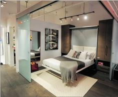 Murphy Bed With TV and Lights Hanging