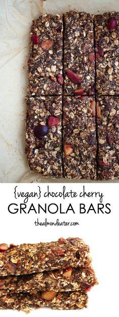 Vegan Chocolate Cherry Granola Bars   A delicious homemade granola bar that uses FRESH cherries! #vegan