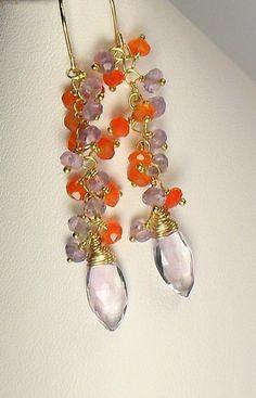 Amethyst Carnelian Gemstone Vermeil Dangle Earrings by MiShelli, $95.00