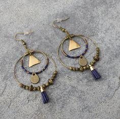 Boucles d'oreilles créoles ethnique bronze et bleu