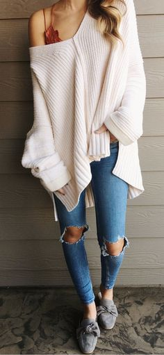 #fall #outfits women's white knit one shoulder long sleeves top and blue distressed jeans