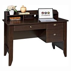 awesome OneSpace Executive Desk with Hutch - Espresso
