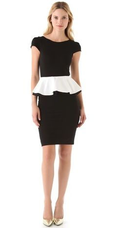 alice + olivia Harris Peplum Dress with Cap Sleeves