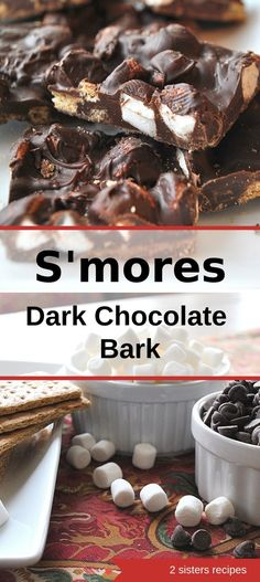 S'mores Dark Chocolate Bark - 2 Sisters Recipes by Anna and Liz Dark Chocolate Recipes, Dark Chocolate Candy, Coconut Hot Chocolate, Christmas Chocolate, Chocolate Desserts, Melted Chocolate, Recipes With Marshmallows, Chocolate Marshmallows, Toffee