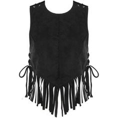 Yoins Black Open Back Tassel Vest ($23) ❤ liked on Polyvore featuring outerwear, vests, crop tops, tops, yoins, black, tank tops, tassel vest, crop vest and vest waistcoat