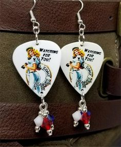 Coast Guard Pin Up Girl Guitar Pick Earrings with American Flag Pave Bead Dangles Diy Jewelry Necklace, Anklet Jewelry, Shell Jewelry, Boho Jewelry, Military Jewelry, Guitar Pick Jewelry, Grunge Jewelry, Coast Guard, Pin Up Girls