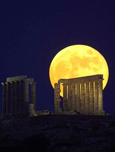 Moon over Temple of Poseidon, Cape Sounion, Greece