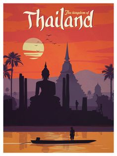 Vintage Travel Image of Vintage Thailand Poster - Size - Digital Print on 80 lb cover matte white *SHIPPING DETAILS* Items will be mailed out in tubes within 3 days after order. Vintage Travel Posters, Vintage Postcards, Vintage Ads, Vintage London, Vintage Room, Thailand Art, Thailand Travel, Bangkok Thailand, Spain Travel