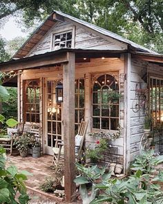 "Oh my came across this ""little"" jewel of a potting shed courtesy livingvintageco.com via Pinterest and my heart be still!  It's my Sunday #pinspiration!  It was entirely made from reclaimed building materials --bricks tin shiplap siding and even the windows and doors!  If you love it from the outside you've got to go check out the article and see the shots of the inside.  Guess I'll keep dreaming...as I know my husband already has a whole bunch on his ""honey do"" list #sundayinspo…"