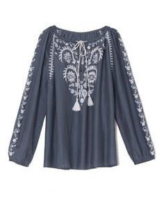 Grey and White Cotton Embroidered Blouse