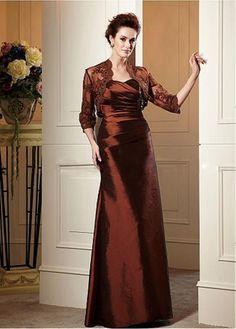 Stunning Taffeta A-line Strapless Neckline Full Length Mother of the Bride Dress