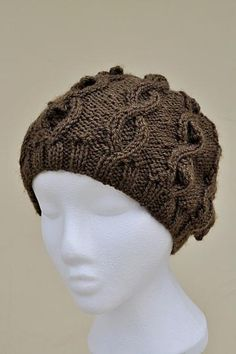 Hand Knit Slouchy Cabled Hat Brown by Isabelle for $18.00