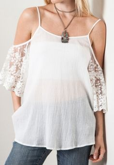 You love being a girl. And, all the things we love about being a girl is in this top. The sexy open shoulders, the sweet lace and soft, ivory color. So sheer and perfect to wear with a light cami underneath. 55% Cotton; 45% Polyester | Shop this product here: spree.to/bhv8 | Shop all of our products at http://spreesy.com/amoddoma    | Pinterest selling powered by Spreesy.com