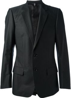 $1,586, Black Vertical Striped Blazer: Christian Dior Dior Homme Pin Striped Suit. Sold by farfetch.com. Click for more info: https://lookastic.com/men/shop_items/155674/redirect