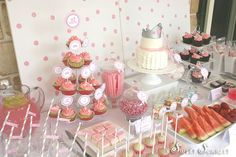"""This is the """"It's My Party"""" Dessert Table I designed for my daughters 6th birthday. DIY Printables are available on my Etsy store. The food for the party had a pink theme, but I made sure I had healthy options as well."""
