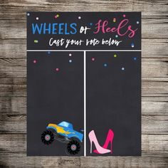 Wheels or Heels Gender Reveal Vote, Gender Reveal Party, Boy or Girl, What Will Baby Be? Gender Reveal Party -Digital Download