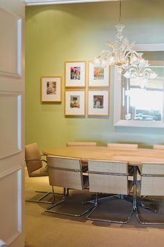 Office Style :: Jan Showers Design | Camille Styles The conference table uses a Knoll base and custom oval top. The Brno chairs are upholstered in raffia, and the paint color is Farrow & Ball's Cooking Apple Green.