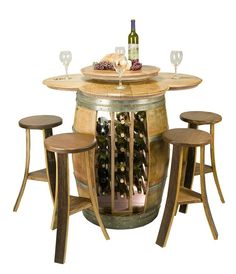 Barrel Wine Rack Table with Barrel Stools
