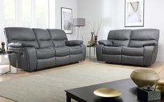 Beaumont Grey Leather Recliner Sofa Seater for only at Furniture Choice. Free standard delivery & finance options available. Grey Leather Reclining Sofa, Grey Leather Sofa, Best Leather Sofa, Leather Recliner, Black Leather, Leather Ottoman, Bonded Leather, Sofa Design, Interior Design