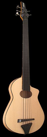 ACOUSTIC Fretless Sitka BASS GUITAR.  Flyer style headstock. 5 strings. Light colored Maple w darker edge.  #DdO:) MOST POPULAR RE-PINS - RESEARCH DianaDee -  http://www.pinterest.com/DianaDeeOsborne/instruments-for-joy-  Luthier Joe Veillette (born 1946) specializes in crafting unusual & innovative handmade guitars & other hand crafted stringed instruments for working musicians & artists. With the utmost attention to detail, each musical instrument is precisely crafted to the highest…