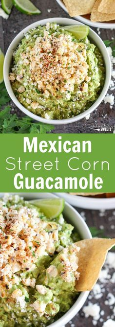Mexican Street Corn Guacamole - Guacamole flavored with fire roasted corn, lime, chili powder and cotija cheese. Mexican Street Corn Guacamole - Guacamole flavored with fire roasted corn, lime, chili powder and cotija cheese. Carnitas, Barbacoa, Mexican Appetizers, Best Appetizers, Appetizer Recipes, Cheese Appetizers, Guacamole Recipe, Avocado Recipes, Healthy Recipes