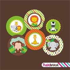 SAFARI, JUNGLE, ANIMALS Printable Party  Cupcake Toppers, Party Tag, Printable Party Favors