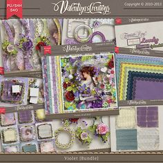 """""""Violet {Bundle}"""" includes elements, papers, clusters, borders, album, mats and stacked.All the elements are made in png, 300 ppi. Papers ar..."""