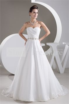 White Sweetheart Brush/ Sweep Train A-line Wedding Dress