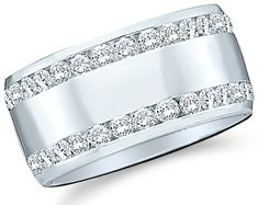 Size - 4 - 14k White Gold Round Cut Diamond Two Row Ladies Womens Channel Set Wide Wedding or Anniversary 8mm Ring Band (.53 cttw) Sonia Jewels,http://www.amazon.com/dp/B004LHB7TQ/ref=cm_sw_r_pi_dp_GsOxsb1XA05BMEFV
