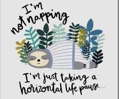 Love a horizontal life pause! Funny Animals, Cute Animals, Funny Quotes, Funny Memes, Cute Sloth, Baby Sloth, My Spirit Animal, Illustrations, Drawing S