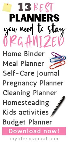 Planners and Binder Printables to make you an organized mom! Planner Tips, Goals Planner, Budget Planner, Life Planner, Food Budget, Daily Printable, Printable Planner, Printables, Best Planners For Moms
