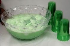 Green Shower Punch / Sherbet Punch recipe on Food52 1quart Green Lime Sherbet 1packet can of frozen lemonade 2liters Sprite