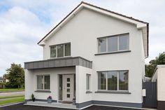 Grey Aluclad Windows Grey Windows, Front Doors With Windows, Casement Windows, Grey Exterior, Exterior Colors, Ral Colours Grey, Composite Front Door, Front Porch Design, Brick Colors