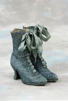 Wow look at just how detailed these 19th century boots are with silk laces. They sure did love their fancy fashion.