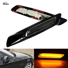 Gloss Black Type+Smoked Lens F10 Style LED Fender Side Marker Turn Signal Light for BMW E60E61F10E81E82E87E88E90E91E92E93