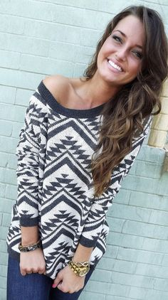 Cozy Aztec Sweater - Charcoal – The Rage