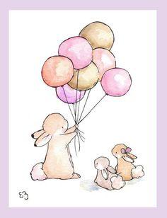 print of bunny with balloon | Children Art Print. Balloons for Bunnies. GIRLS. PRINT 8X10. Nursery ...