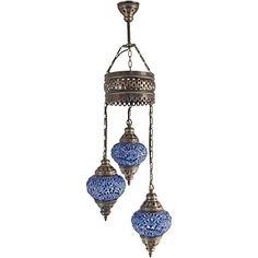 Chandelier, Ceiling Lights, Turkish Lamps, Hanging Mosaic Lights, Pendant, Blue Glass, Color Glass, Moroccan Lantern, 3 Bulbs Anadolu Kuratoru
